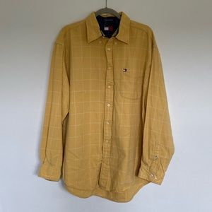 Plaid mustard color Tommy Hilfiger button down